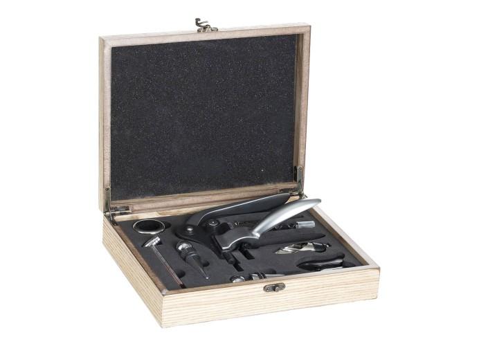 Kit Caja madera Somelier 9 piezas